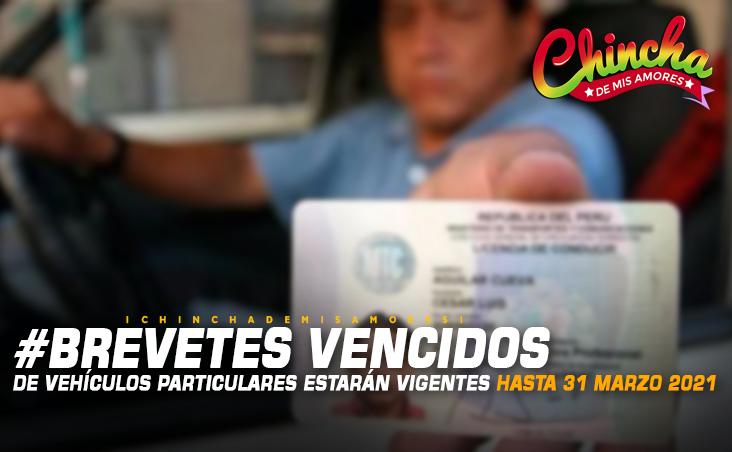 BREVETES DE VEHÍCULOS PARTICULARES VENCIDOS TENDRÁN VIGENCIA HASTA EL 31 DE MARZO DEL 2021